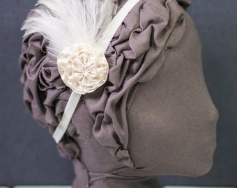 Ivory Feather and Embellished Satin Rosette Headband