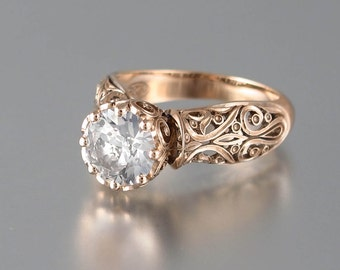 size 7.5 Ready to Ship - The ENCHANTED PRINCESS White Sapphire 14K rose gold engagement ring