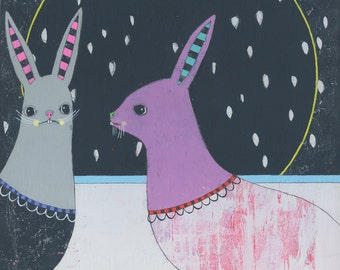 Rabbits - Original Acrylic Art Bunny Painting