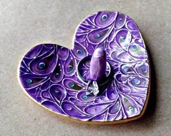 Ceramic Ring Holder Dish Purple gold edged engagement ring holder