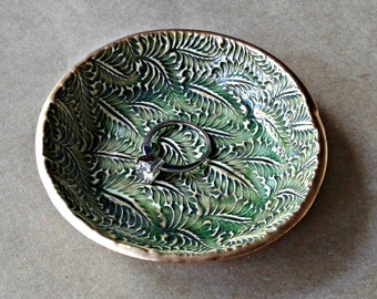 Ceramic Ring Bowl Trinket bowl Moss green Gold edged