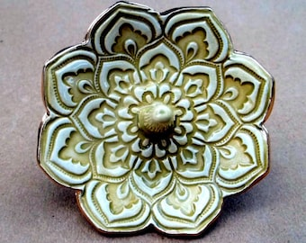 Ceramic Lotus Ring Holder Mustard Yellow and Cream edged in gold