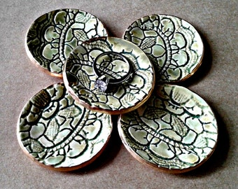 THREE Tiny Ceramic Lace Ring Dishes moss green edged in gold itty bitty 2 inches