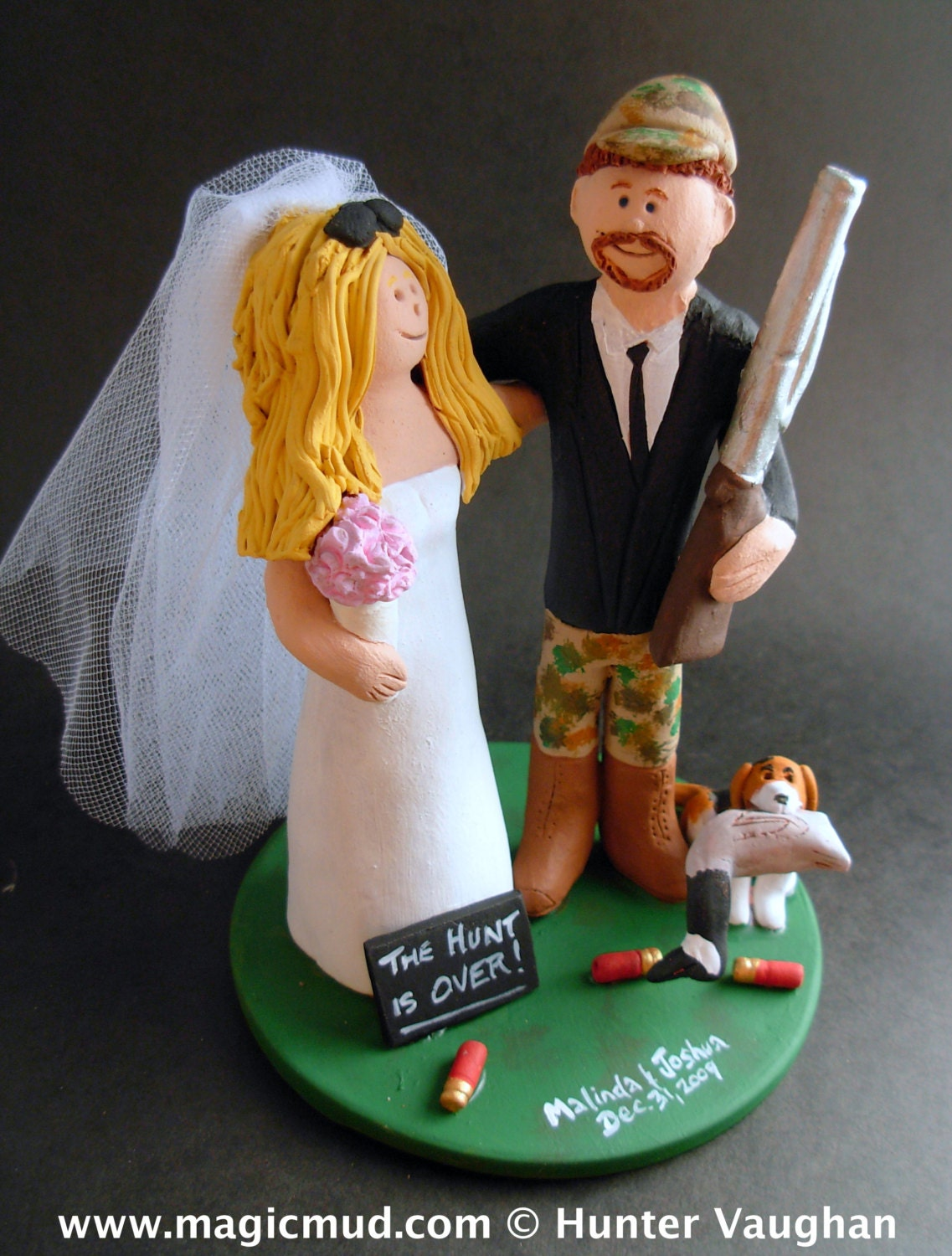Hunter with Bride and Shotgun Custom Wedding Cake Topper Duck