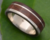 White Gold Un Lado Asi Wood Ring  - ecofriendly 14k recycled white gold wood wedding band, wooden wedding ring, wood ring, wood wedding band