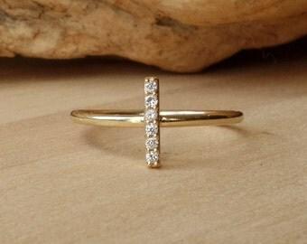Diamond Bar Ring - Vertical