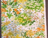 Vintage HOUSE 'N HOME Fabric ~ Heavyweight Cotton Upholstery Yellow Green Orange Flowers Floral Print