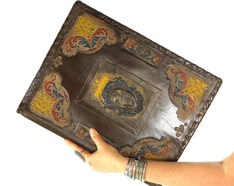 RARE 1920s Tooled Leather Portfolio / Antique Embossed & Painted Italian Art Nouveau Document Holder by Guido Ciaccheri / Crown Crest