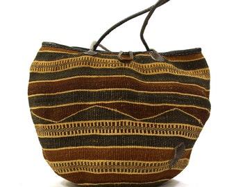 Woven Sisal Bucket Bag with Leather Shoulder Straps / Vintage 1980s Raffia Basket Purse / Bohemian Market Tote