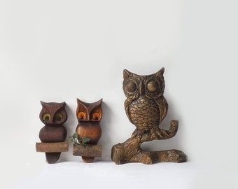 Lot of Owl Plaques, 1970's Vintage Wall Hangings, Woodland Bird Home Decor
