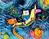 Adventure Time Art - Oil Painting - Starry Night - impasto original Art by Aja - 12x12 inches van Gogh Never Went On An Adventure