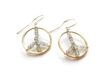 14K Gold Fill Earrings, Labradorite Earrings, Gold Earrings, Peace Sign Jewelry, Hippie Jewelry, Gold Jewelry, Labradorite Jewelry