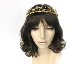 Gold Bridal Tiara, Gold Bridal Headpiece, Gold Tone Tiara, Bridal Accessory, Wedding Tiara, Wedding Headpiece, Celeste by Durango Rose