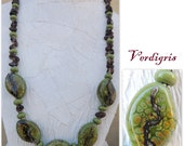 Verdigris Handmade Lampwork Bead Necklace with Smoky Quartz