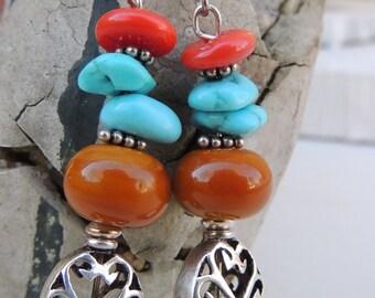 Southwest Style Handmade Lampwork Bead Dangle Earrings