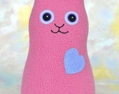 Handmade Rabbit, Stuffed Animal Plush Doll Art Toy, Hug Me Bunny, Personalized Hang Tag, Mauve Pink, Periwinkle Blue Fleece, 9 in Ready-made