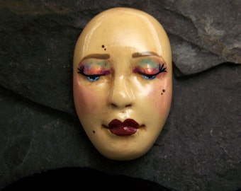 Goddess Face Cabochon a handmade, hand painted, OOAK polymer clay face cab by sculptedwindows
