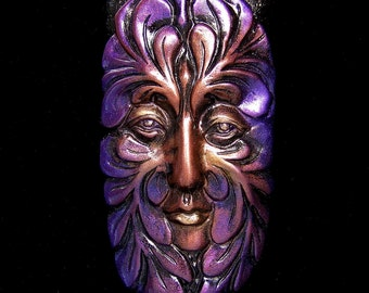 Large Greenman Spirit Face Cab Metallic Purple, Copper, & Gold on Black Polymer Clay