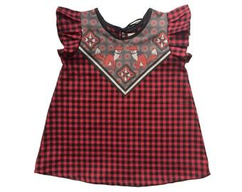 fox print baby dress buffalo plaid flannel Supayana