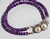 Double Strand Amethyst Classic Bracelet