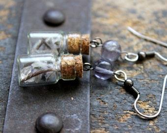 Thoughtful Earrings - Iolite Mini Bottle Spell Jar Crystals Dried Flowers