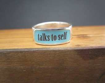 Talks to Self Band Ring - Sterling Silver and Vitreous Enamel Ring