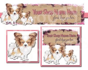 Premade Etsy Cover Photo - Large Etsy Banner - Premade Etsy Shop Banner - SHOP ICON - Shop Profile - Puppy Dog - Papillon Japanese Chin