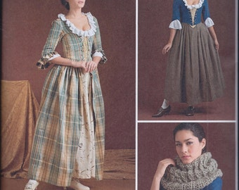 Simplicity 8161 Misses 18th Century Outlander Costume Gown Petticoat Bodice UNCUT Sewing Pattern