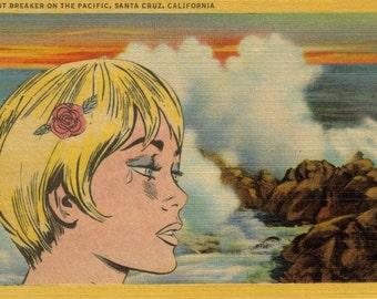 Retro Romance Comic Art, Original Pop Art, Emo Art, Sad Girl, Crying Girl, Original Comic Collage Artwork, Santa Cruz California Postcard