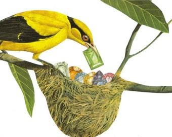Bird Nest Wall Art Gemstone Jewel Tone Art Original Collage Artwork on Paper Gem Art