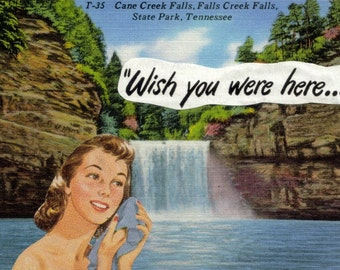 Retro Artwork for Bathroom, Original Collage Art, Bathing Beauty, Waterfall Art, Wish You Were Here, Tennessee Postcard, Paper Collage Gift