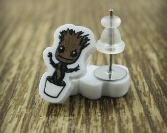 New Baby Groot Inspired Acrylic Earrings