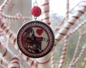 Red Queen Upcycled Alice in Wonderland Ornament- Queen of Hearts