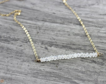 Rainbow Moonstone Necklace, Gold Filled Necklace, Simple Bar Necklace, Wedding Jewelry, White Bridal Necklace, Moonstone Gemstone Necklace