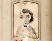 """Original Painting, Ink Portrait Painting, Original Watercolor Painting with Simple Embroidery  """"Locked Away"""""""