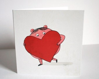 My heart is too big - Illustrated greeting card for all occasions
