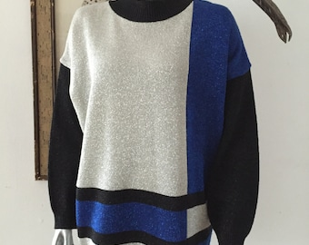 Metallic Colorblock Sweater in Blue Silver and Black