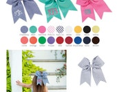 Girl's hair bow plain or monogrammed comes in a rainbow of colors to include chambray, pink seersucker and navy seersucker - preppy hair bow