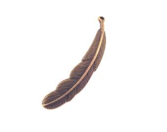6 brass feather pendants 56x10mm, D226