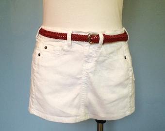Vendor apron White denim utitilty craft show apron upcycled red belt