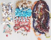Chip Stone Bead Lot - 1.75 pounds loose gem chip beads and jewelry to recycle - gemstones shell glass