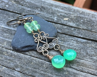 Chrysoprase Sterling Silver Earrings, Wire Wrap, Long Dangle, Green, Faceted Gemstone, Handmade Earrings, Kerri Hale Vermont