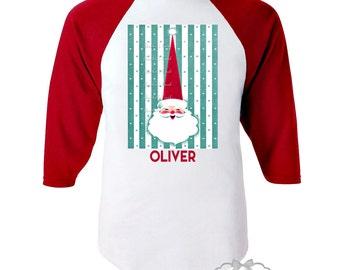 Christmas Santa Shirt - Mod Toddler Santa Shirt - Retro Christmas Shirt - Tee Santa Boy - Red White Baseball Aqua Custom Size Girl Vintage