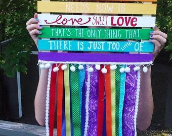 Love sweet Love NURSERY ART Rainbow Flag wall art wall hanging wooden grosgrain ribbon pom pom trim mixed media flag banner