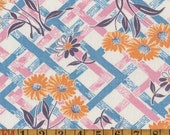 Vintage Feedsack Fabric - Daisies on Basketweave - Flour Sack Quilting Cotton 1930s 1940s
