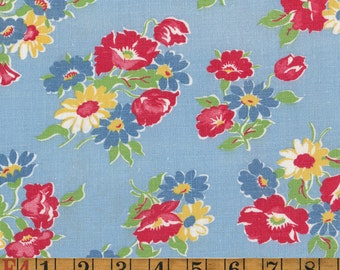 Vintage Feedsack Fabric - Flower Bouquets on Blue - Flour Sack Quilting Cotton 1930s 1940s