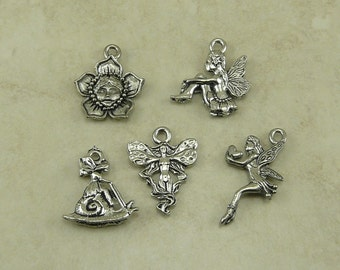 5 Fairy Mix Pack Charms > Fae Pixie Fantasy Forest Magic Creature - American Made Lead Free Silver Pewter I ship internationally