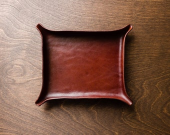 Leather Catchall Large - Medium Brown / valentines, valet tray, for him, birthday gift, office organizer, christmas