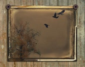 Dark, Gothic, 13X10, Old Style Photo, Art, Aged, Crows Flying, Blackbird, Ravens In Sky, Surreal Print, Very Grungy, Corvidae - Dingy Nature