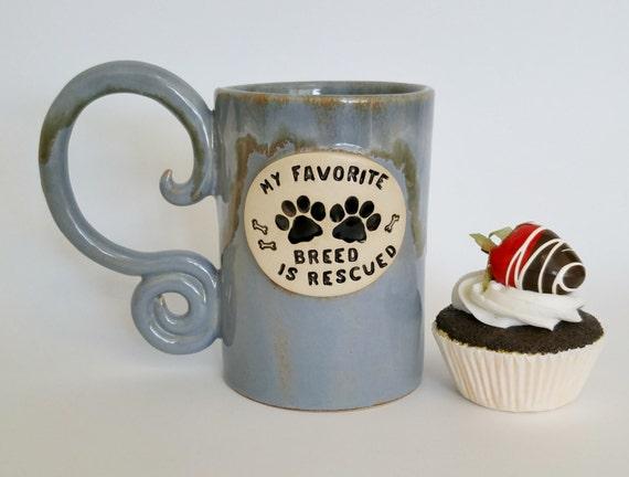 SALE - 50% OFF - Large Ceramic Coffee Mug - Large Coffee Mug - Animal Rescue - Stoneware Mug - Pottery Mug - Pet Lover - Blue Mug